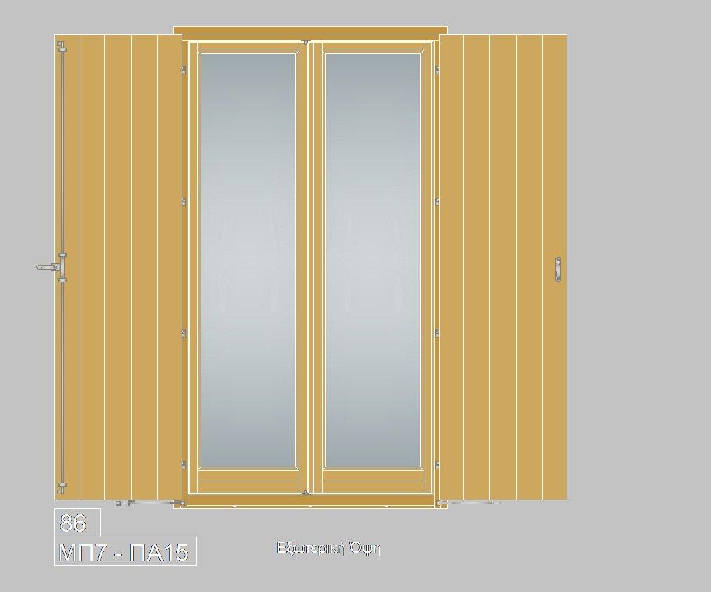 Τυποποιημένα ξύλινα κουφώματα. Μπαλκονόπορτα με πατζούρι ΜΠ7-ΠΑ15