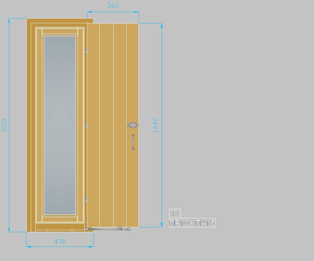 Τυποποιημένα ξύλινα κουφώματα. Παράθυρο με πατζούρι ΠΡ10-ΠΑ15