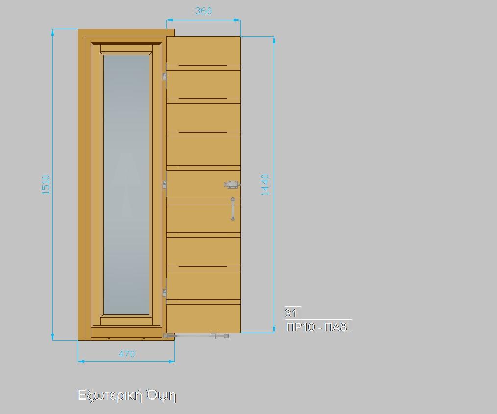 Τυποποιημένα ξύλινα κουφώματα. Παράθυρο με πατζούρι ΠΡ10-ΠΑ8