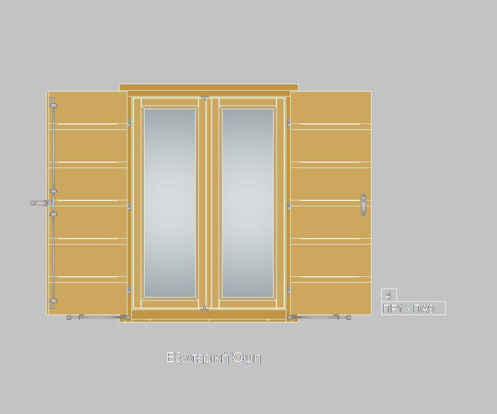 Τυποποιημένα ξύλινα κουφώματα. Παράθυρο με πατζούρι ΠΡ1-ΠΑ9